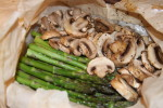 Asparagus and Mushrooms in Parchment Bags